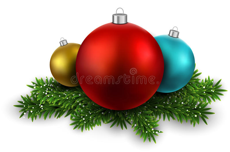 Boules colorées sur des branches de réveillon de Noël. illustration de vecteur