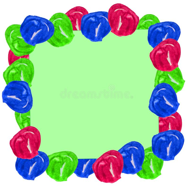 Boules d'aquarelle sous forme de cadre sur un fond bleu et vert de Noël Peut être employé pour des cartes postales, emballage de  illustration libre de droits