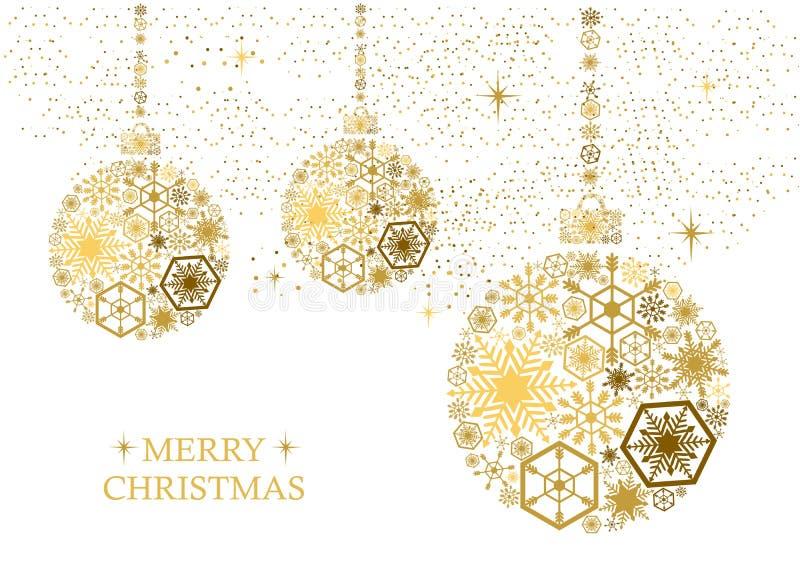 Boules d'or de Noël avec des flocons de neige sur un fond blanc Ho image stock