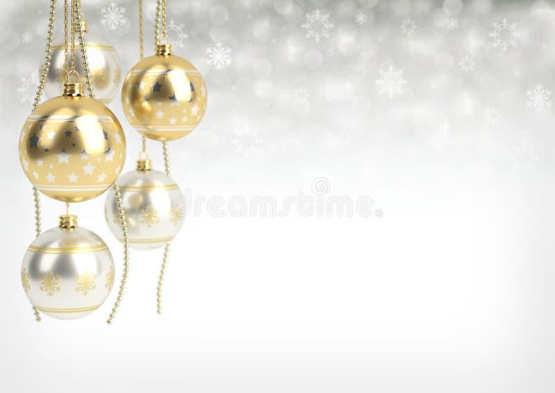 Boules d'or et argentées de Noël accrochant sur le fond de bokeh 3d rendent image stock