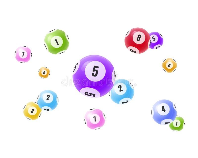 Boules 3D réalistes volantes avec des nombres aléatoires Loterie, bingo-test, loto illustration stock