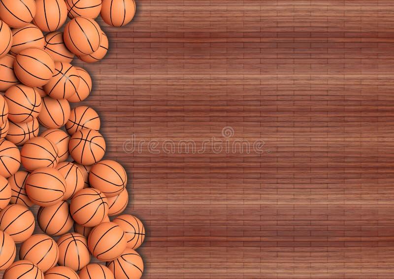Boules de basket-ball sur le plancher en bois illustration de vecteur