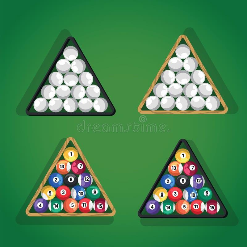 Boules de billard dans la triangle sur la vue supérieure verte de table de billard Boules de piscine blanches et colorées dans la illustration de vecteur