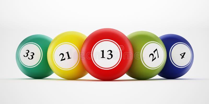 Boules de bingo-test avec des nombres génériques illustration 3D illustration stock