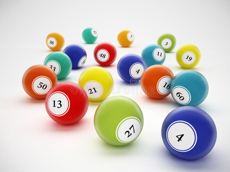 Boules de bingo-test avec des nombres génériques illustration 3D illustration de vecteur