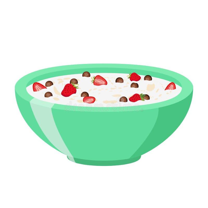 Boules de chocolat de céréale avec la fraise Lait, style plat de petit déjeuner de farine d'avoine illustration libre de droits