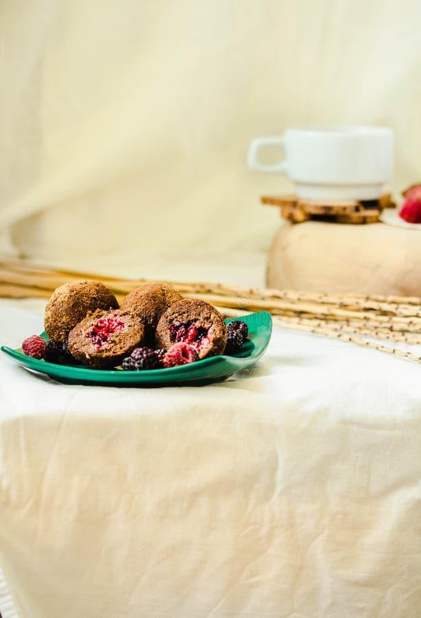 Boules de chocolat sucr? dans le seau pour les truffes saines naturelles d?licieuses de Rawfoodist avec la poudre de cacao Concep image libre de droits