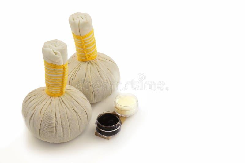 Boules de compresse de station thermale de massage de textile images stock