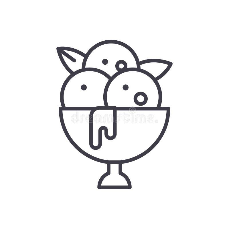 Boules de concept d'icône de noir de crème glacée  Boules de symbole plat de vecteur de crème glacée, signe, illustration illustration libre de droits