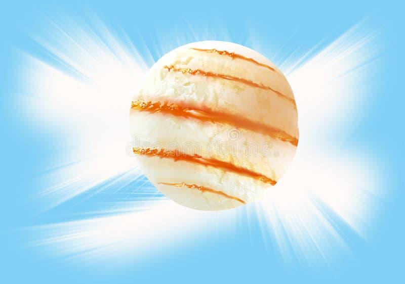 Boules de crème glacée et d'écrimage avec le chemin de coupure photo stock