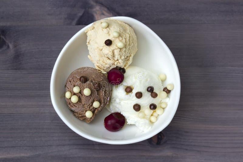 Boules de crème glacée de vanille et de chocolat et miettes de chocolat avec la canneberge Crème glacée savoureuse de crème brulé photos libres de droits
