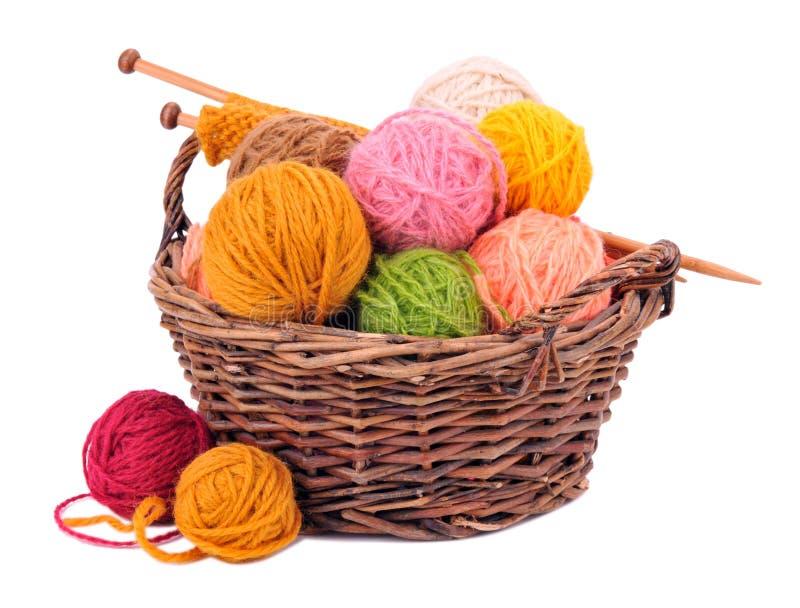 Boules de fil de laine dans le panier photo stock