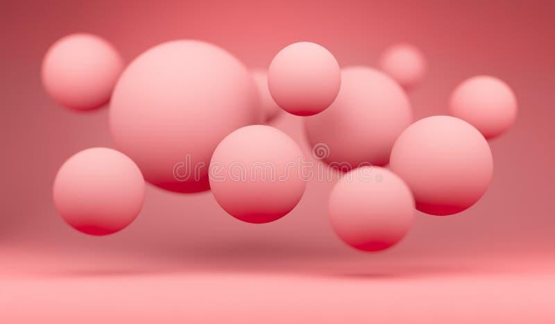 Boules de flottement colorées de corail de witf de fond illustration stock