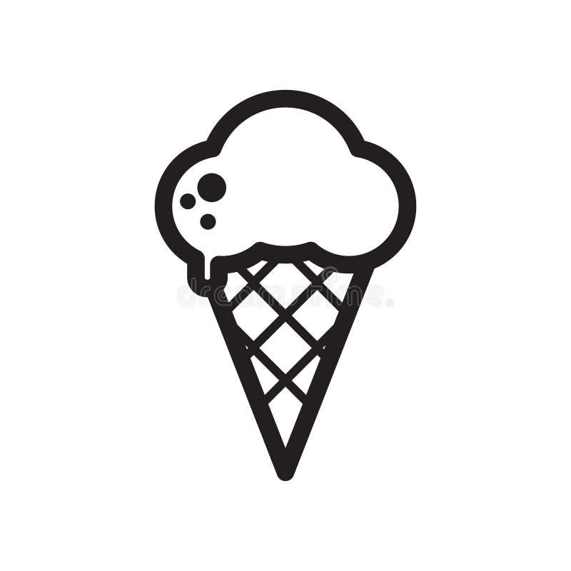 Boules de fonte noires et blanches de crème glacée dans le cône de gaufre d'isolement sur le fond blanc ligne plate icône de vect illustration de vecteur