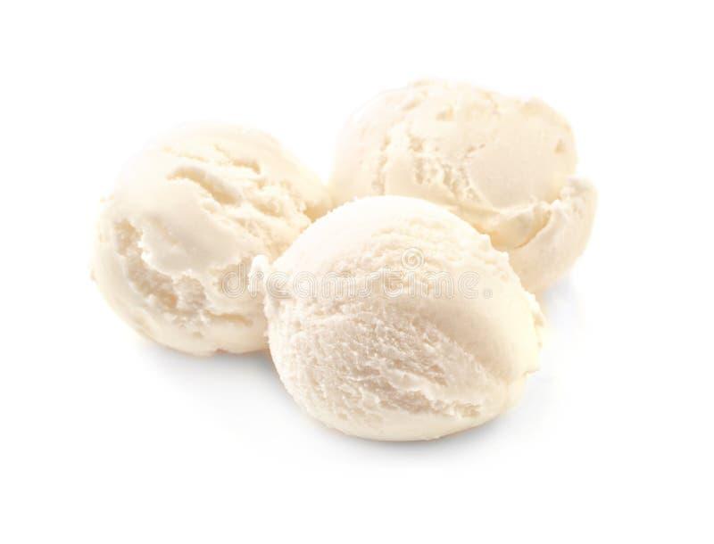 Boules de glace à la vanille délicieuse photos libres de droits