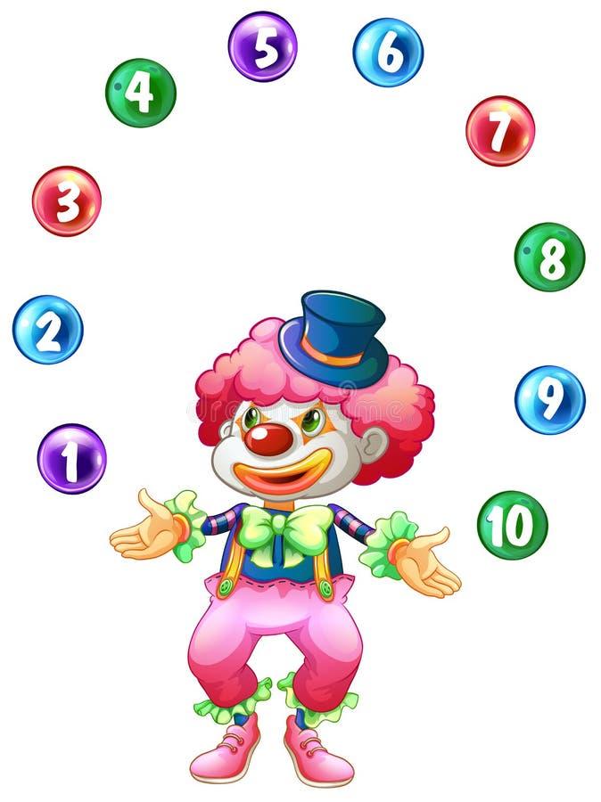 Boules de jonglerie de farceur avec des nombres illustration stock