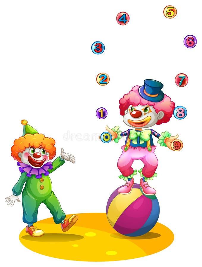 Boules de jonglerie de farceur sur la boule illustration de vecteur