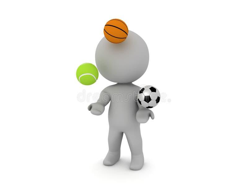 boules de jonglerie de sport du caractère 3D illustration stock