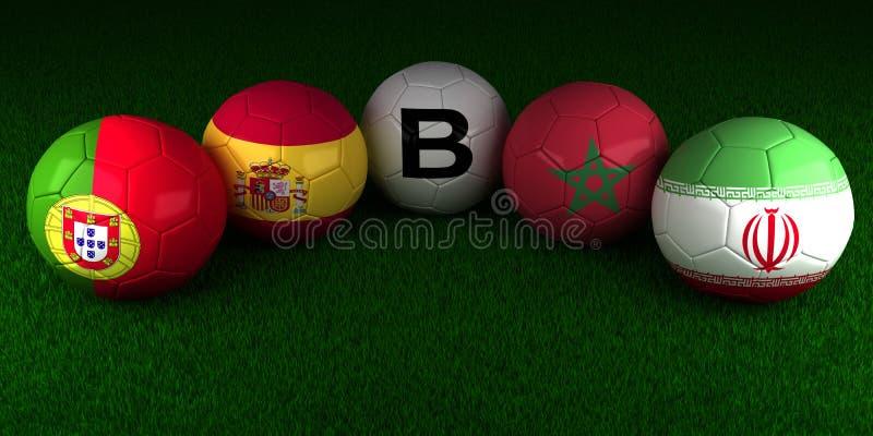 Boules de la coupe du monde du football 2018 avec le drapeau du PS du groupe B Portugal illustration de vecteur
