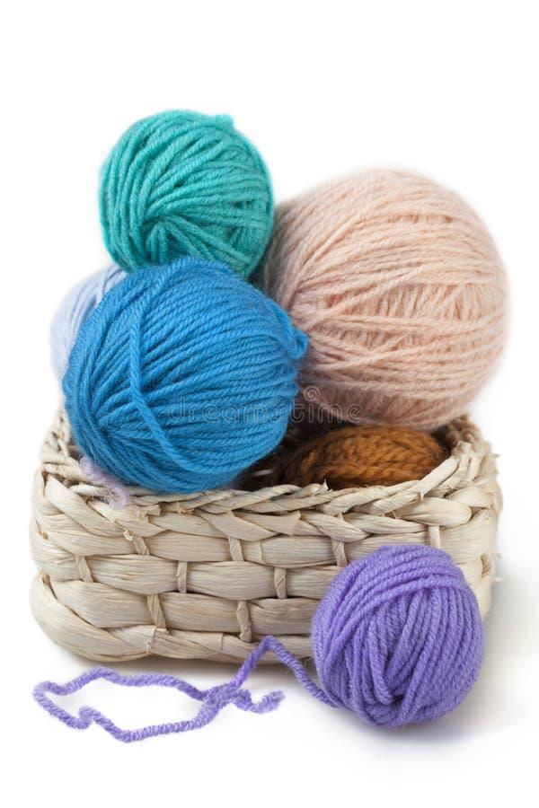 Boules de laine dans le panier images libres de droits