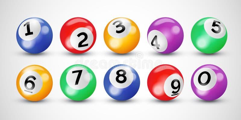 Boules de loterie de bingo-test avec des nombres pour le loto ou le billard de keno sur le fond transparent de vecteur illustration de vecteur