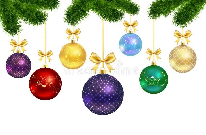 Boules de Noël avec le cadre d'ornement et de fourrure-arbre illustration de vecteur