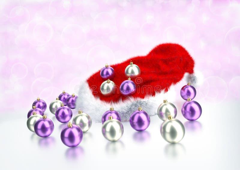 Boules de Noël avec le chapeau rouge de Santa sur le fond de bokeh illustration 3D image stock