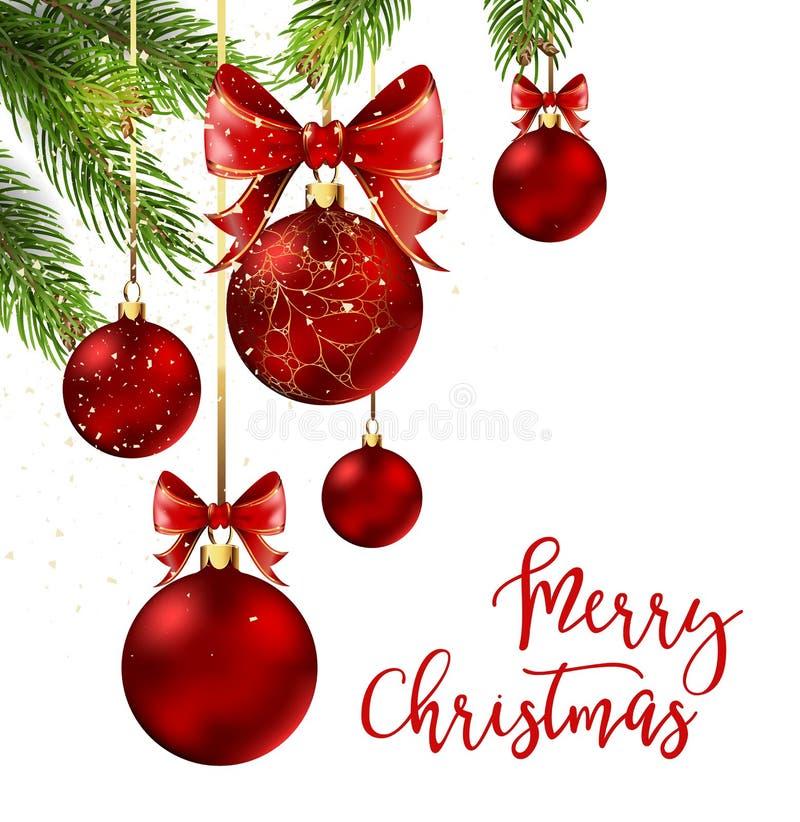 Boules de Noël avec le ruban et les arcs rouges illustration libre de droits