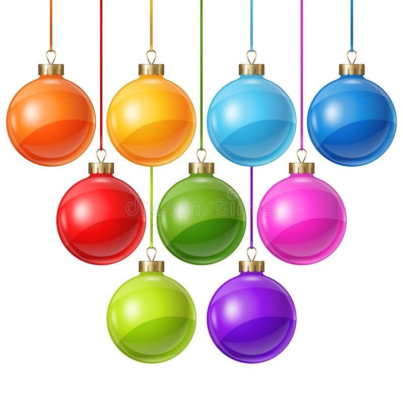 Boules de Noël d'isolement sur le blanc pour la conception illustration libre de droits