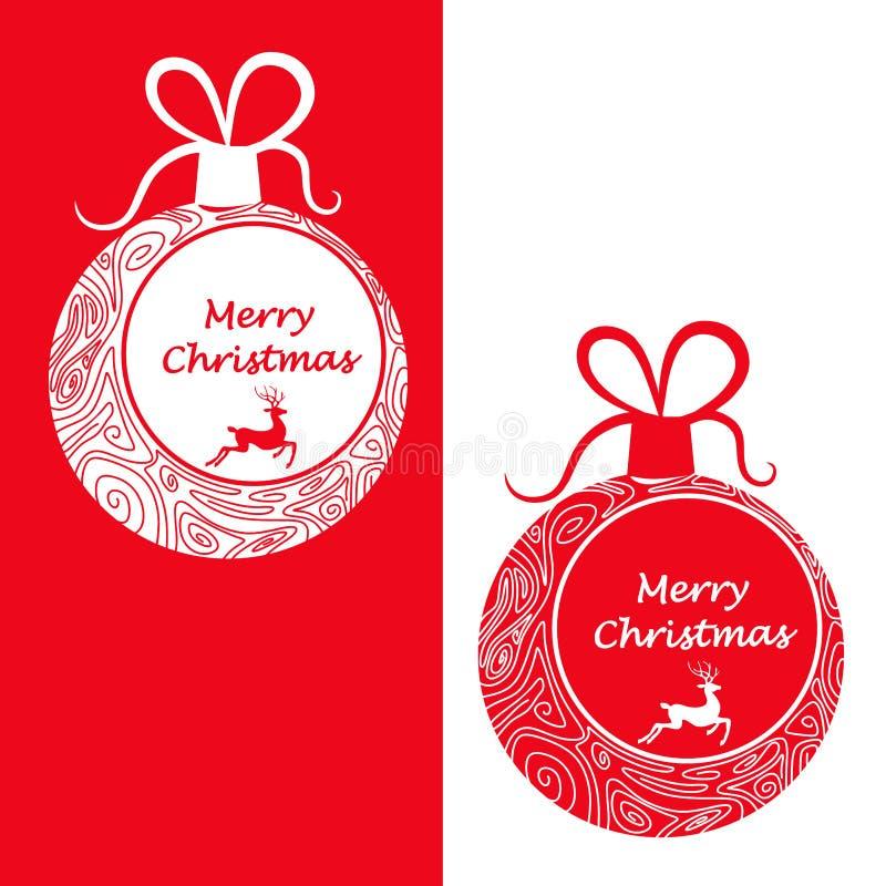 Boules de Noël dans deux couleurs avec les modèles découpés et Noël de mots le Joyeux illustration libre de droits