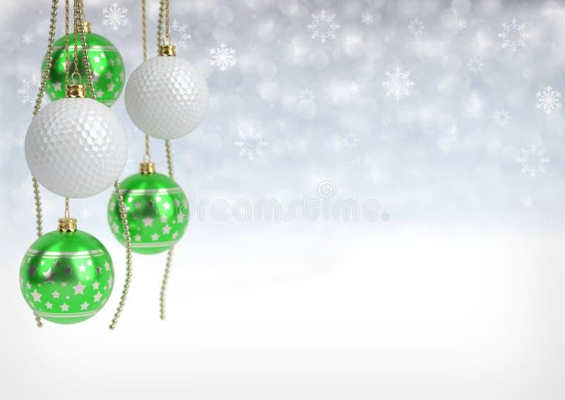 Boules de Noël et de golf sur le fond de bokeh illustration 3D images libres de droits