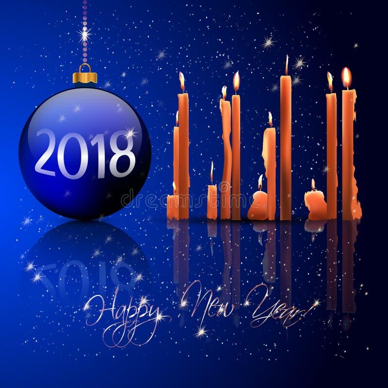 Boules de Noël et lumière de bougie illustration libre de droits
