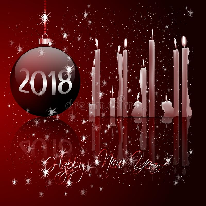 Boules de Noël et lumière de bougie illustration de vecteur