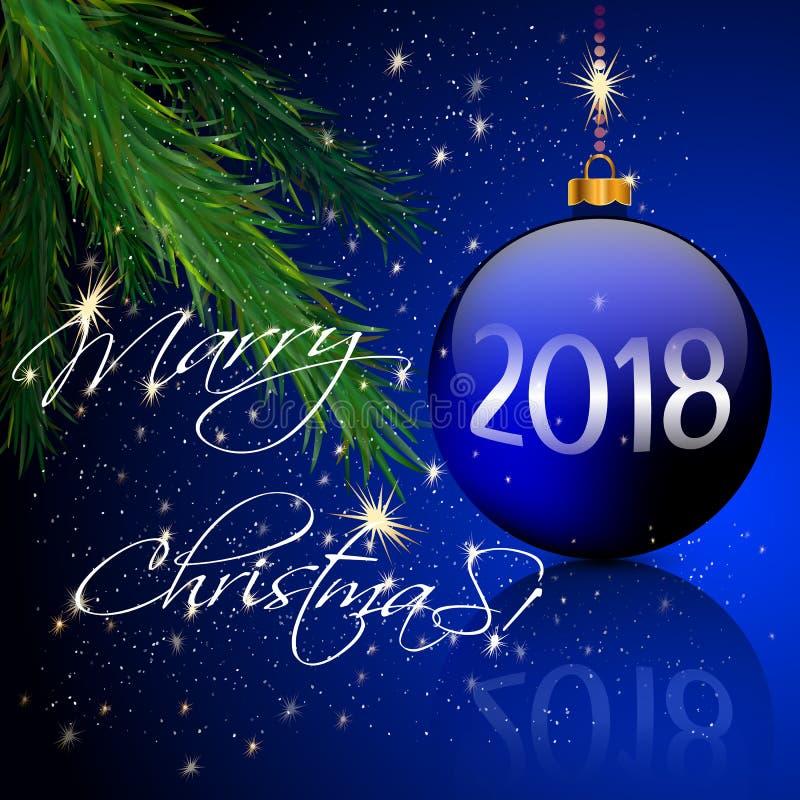 Boules de Noël et lumière de bougie, pin illustration de vecteur