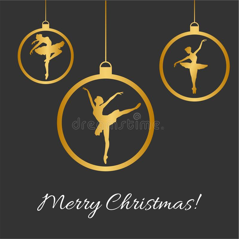 Boules de Noël, silhouette de danse de balerina photographie stock