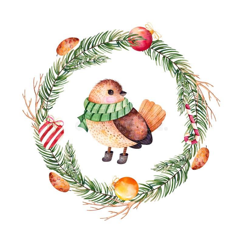 Boules de Noël, sucrerie, coeur, pinecones et oiseau mignon illustration de vecteur