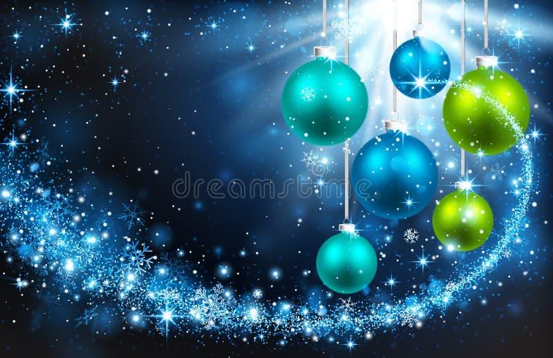 Boules de Noël sur un fond bleu illustration stock