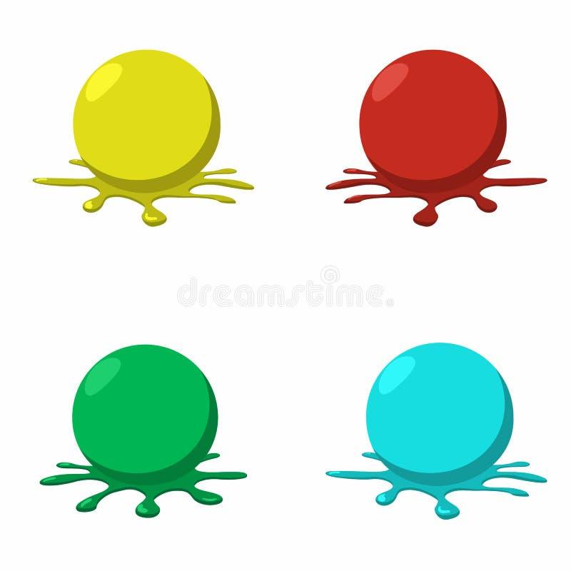 4 boules de paintball avec éclabousse illustration de vecteur
