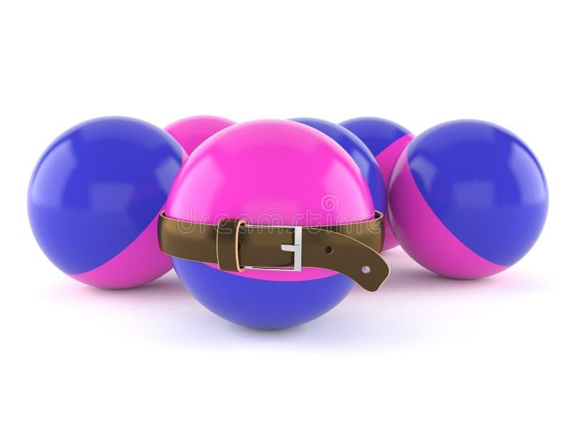 Boules de Paintball avec la ceinture tendue illustration stock