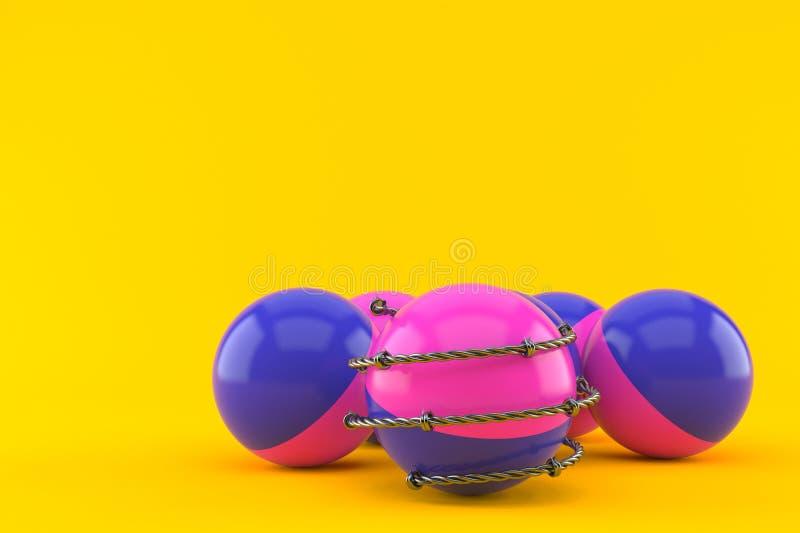 Boules de Paintball avec le barbelé illustration libre de droits