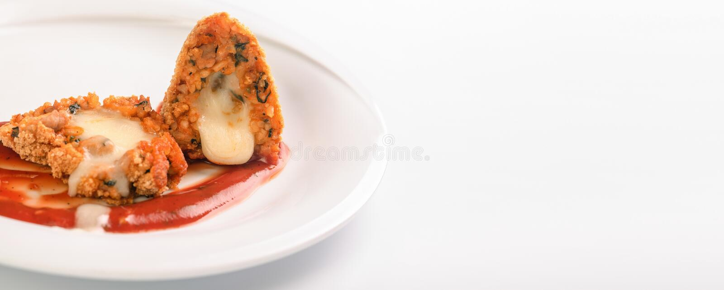 Boules de riz frit d'Arancini photographie stock