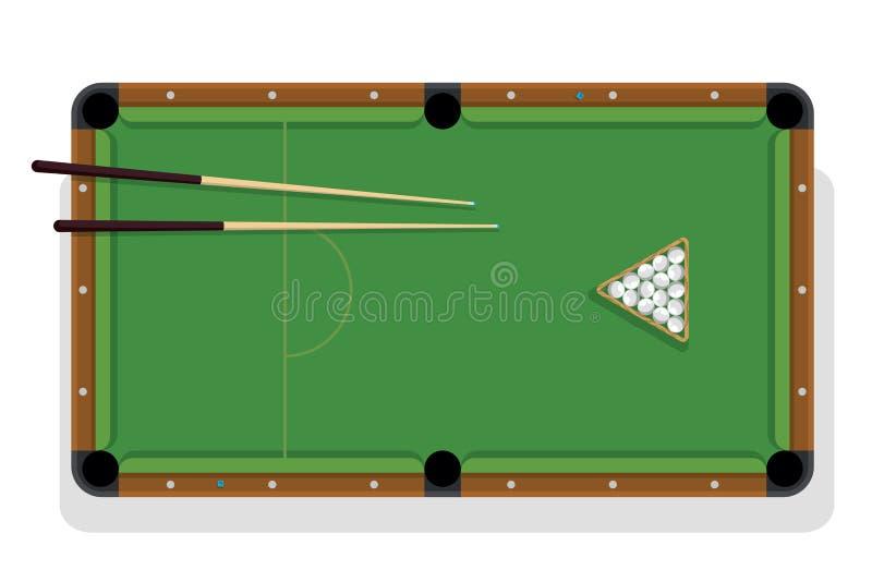 Boules de table de billard, de queue et de billard pour le jeu Table de billard avec la triangle, les boules et la vue sup?rieure illustration stock