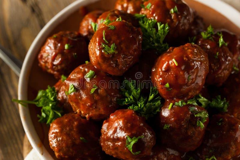 Boules de viande faites maison de barbecue images stock