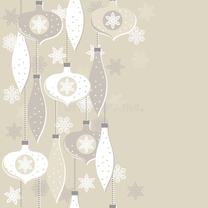 Boules en verre beiges et frontière verticale sans couture de flocons de neige de dentelle illustration stock