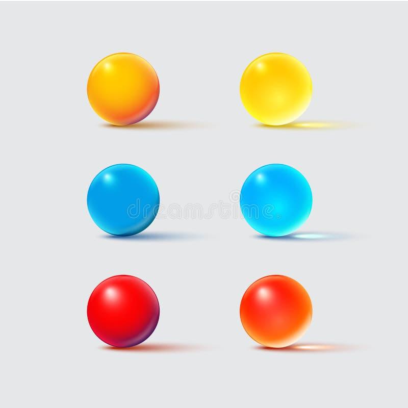Boules en verre de couleur sur le gris Ensemble d'élément réaliste de conception de vecteur illustration libre de droits
