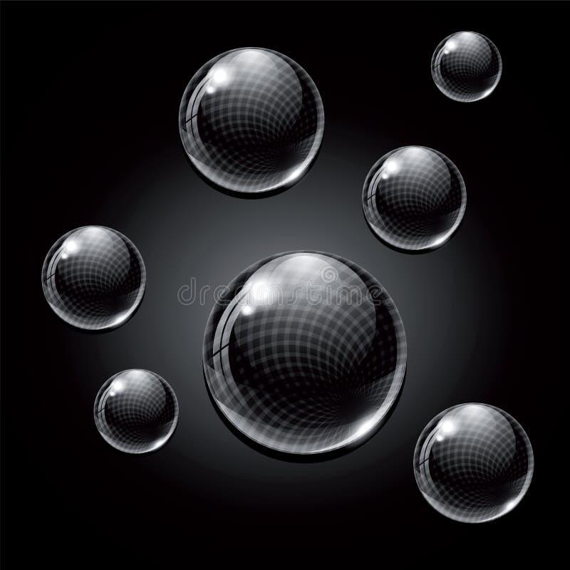 Boules en verre noires illustration stock