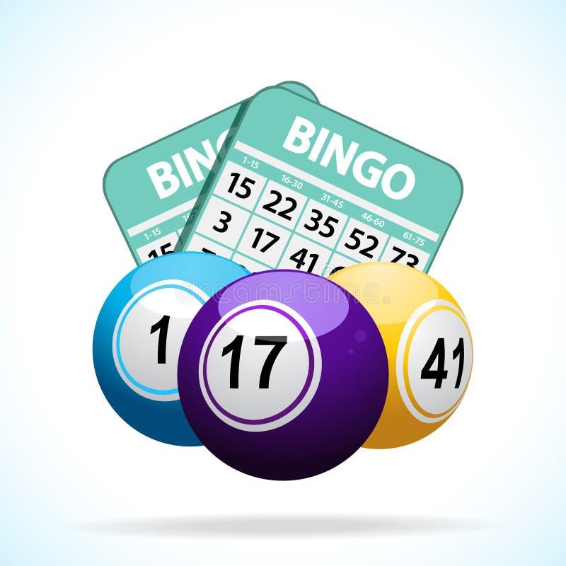 Boules et cartes de bingo-test illustration de vecteur
