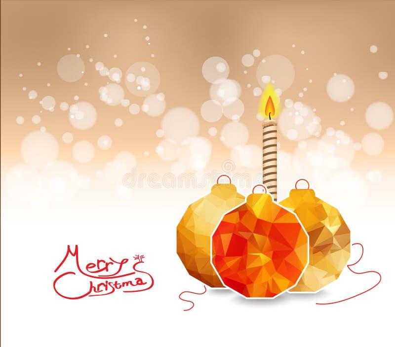 Boules géométriques et bougie de Joyeux Noël illustration de vecteur