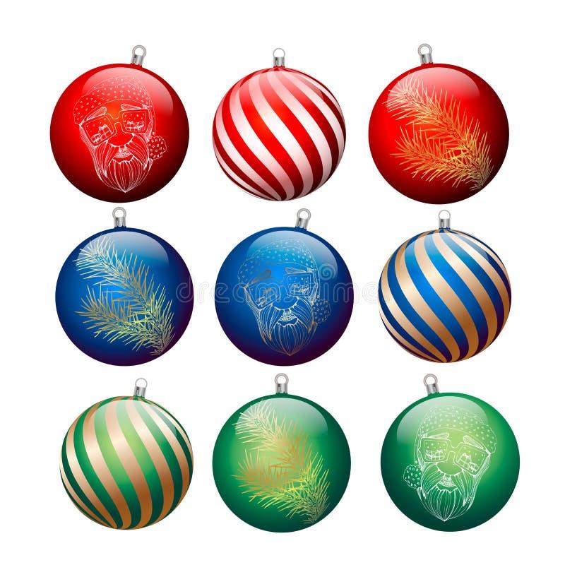 Boules multicolores de Noël avec des dessins, trois sortes Illustration de vecteur illustration de vecteur
