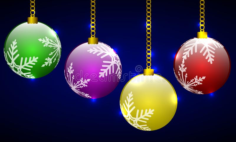 Boules multicolores de Noël avec le flocon de neige illustration libre de droits